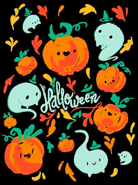 Halloween pumpkins and ghosts